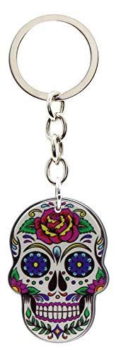 Bluebubble DIA DE LOS MUERTOS Schlüsselanhänger mit Totenkopf, in Geschenkbox, White Death Mask - Tattoo Rose