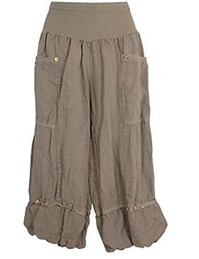 Pantalones 3/4 de lino para muje