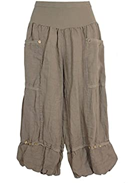 Pantalones 3/4 de lino para mujer, Made in Italy