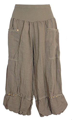Pantaloni 3/4 lino Donna, Made in Italy Taupe