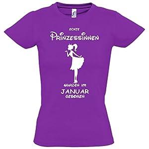 Echte Prinzessinnen wurden im Januar geboren ! Mädchen Geburtstag T-Shirt Kids Gr.128-164 cm Prinzessin Birthday Party Feiern