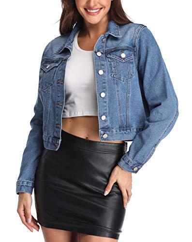 ANIENAYA Blaue Denim Jacken für Damen Jean Mäntel geknöpft Buttoned Down Klassische Mantel Western Taschen Casual Lange Ärmel Plain Outwear - L -