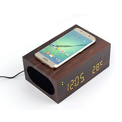 GWJNB Holz Bluetooth-Lautsprecher/Alarm Uhr/Qi Ladegerät Drahtlos/Mit NFC/LED-Temperatur/Zeitanzeige Mit Qi Wireless-Lade Empfänger-Pad