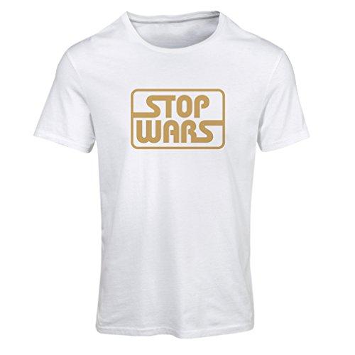 Maglietta Donna politico - Fermare le guerre citazioni di vita pacifica Bianco Oro