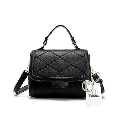 Yoome Tiny Einfache Vintage Klappe Tasche Rhombic Pattern Pure Farbe Top Griff Handtaschen für Frauen - Schwarz Schwarz