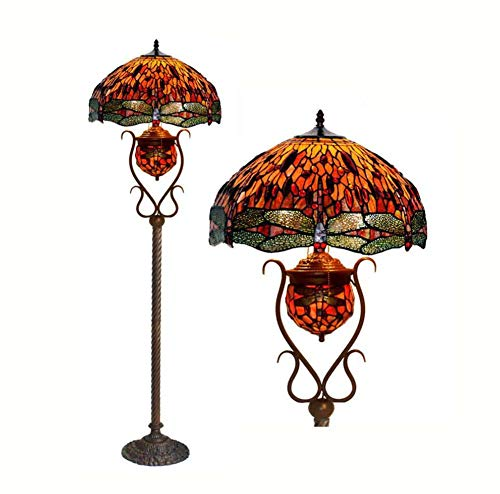 YDYG 18-Zoll-Tiffany-Stil Bodenlampe, Buntglas Art Deco Wohnzimmerboden Uplighter, Europäische Retro-Libelle Stehendes Licht