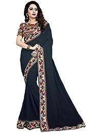 Fabulous Trendz Women's Chiffon Saree With Blouse Piece (Manbhari Black, Black, Free Size)