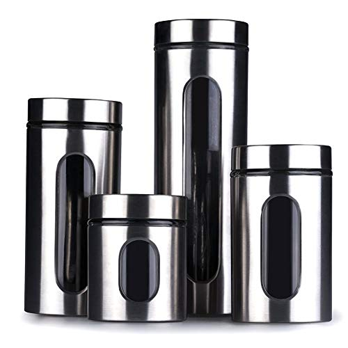 HOMIES INTERNATIONAL Stainless Steel Plated Glass Kitchen Canister, Airtight Food Storage, Window Seasoning Container Organizer, Capacity 600, 900, 1250 and 1900 ml -Set of 4 Pieces