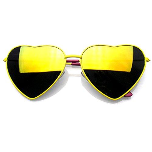 Premium Womens Niedlich Metallrahmen Herz Form Sonnenbrillen (Flash-Spiegel | Gelb)