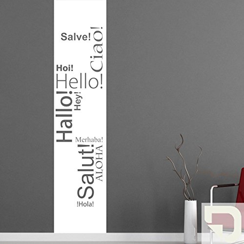 DESIGNSCAPE® Wandtattoo Hallo Banner: Hallo, Hey, Hello, Salve, Ciao, Salut, Hola, Aloha, Merhaba, Hoi 58 x 260 cm (Breite x Höhe) creme DW803052-L-F102 - Wandtattoo Hallo