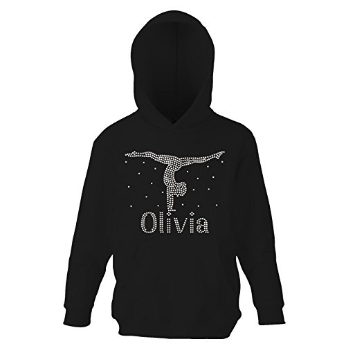 Poly Warenkorb (Black 12- 13 Girls Hand Stand Gymnastics Personalised Crystallised Hoodie Loetard jumper Varsany)