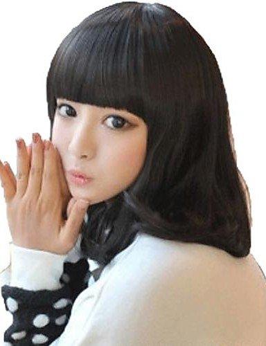 Femme Fashion sans capuchon noir taille M naturel synthétique cheveux bouclés Bang Perruques complet