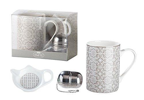 3tlg.Teeset aus Porzellan Grey Ornament Teetasse Teesieb Becher Geschenk Küche Geschirr Ornamente -