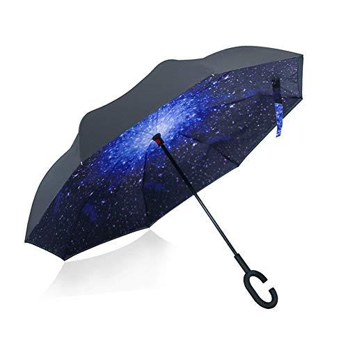 Invertito ombrello, doppio strato ombrello al contrario, yumomo forma di c trovarsi le mani libere ombrelli reversibile (cielo stellato)