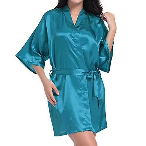 Vestido Pijama Mujer Kimono Corto Bata Satén Lencería