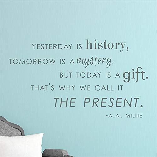 wandaufkleber schmetterling rosa Gestern ist Geschichte Morgen ist ein Rätsel, aber heute ist es ein Geschenk