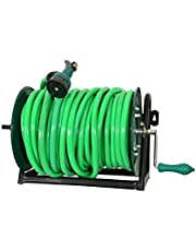 BTH Company Heavy Duty Hose Reel Wall Floor Mounted with Adjustable Arm Guide Garden Appliances (Green)