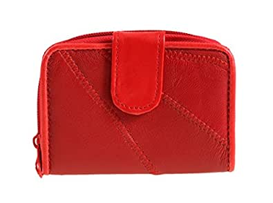 LADIES LEATHER PATCHWORK PURSE 4812 (RED)