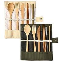 nuoshen Bamboo Cutlery, Bamboo Travel Utensils Reusable Cutlery Set