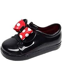 OHQ Botas De Lluvia Impermeables De Goma para NiñOs Bowknot Dot Zapatos para La Lluvia Botas Martin El Confort No Hace DañO A Los Pies