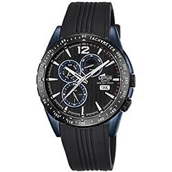 Lotus–Reloj de cuarzo para hombre con esfera analógica de color negro y correa de caucho de color negro 18311/1