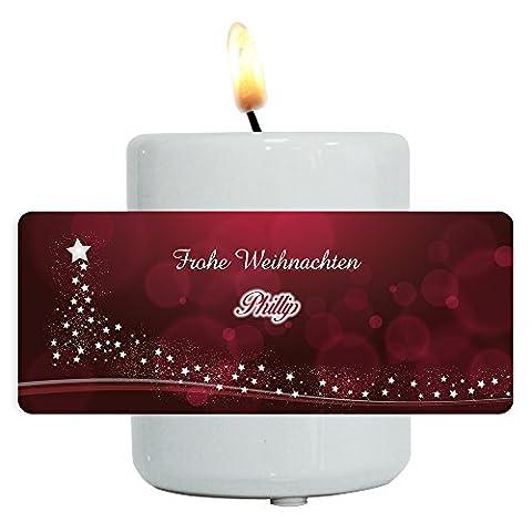 Teelichthalter mit Namen Phillip und besinnlichem Weihnachtsmotiv mit Weihnachtsbaum aus Sternen