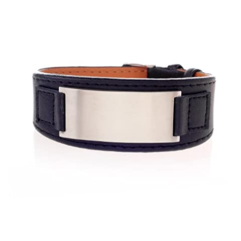 Leder Armband Schwarz mit Edelstahl Platte - matt poliert Ideal Zum Eingravieren - LE61007B verstellbar (Männerschmuck Armband)