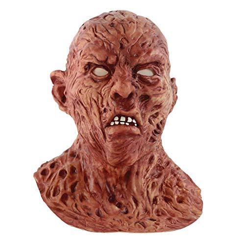 QIMANZI Höllenbestie Monster Dämon Horror Grusel Maske Perfekt für Fasching Karneval Halloween Kostüm für Erwachsene Latex Unisex Einheitsgröße(A Rot)
