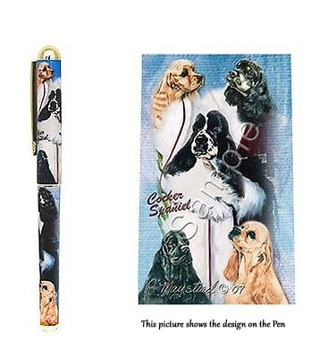 American Cocker Spaniel Dog Gift. Beautiful Rollerball Pen with Black Velvet Pouch.