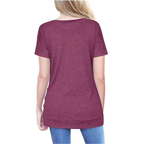 Femme T-Shirt Long Col Rond Manches Courtes Tunique Lâche Casual Blouse en Coton Couleur Unie avec Boutons Bordeaux