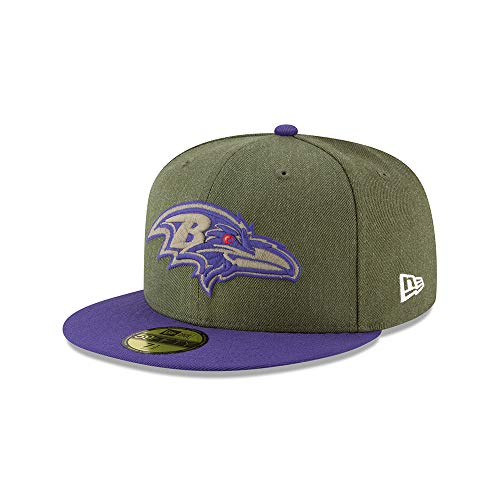 New Era Baltimore Ravens 59fifty Basecap On Field 2018 Salute to Service Green - 7 5/8-61cm