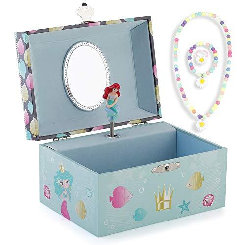 RPJC Kinder Musik - Glocke Schmuckkästchen - Box Speichern und Set für Schmuck mit Wunderbar Meerjungfrau Thema - Wunderschön Träumer Tune Blau