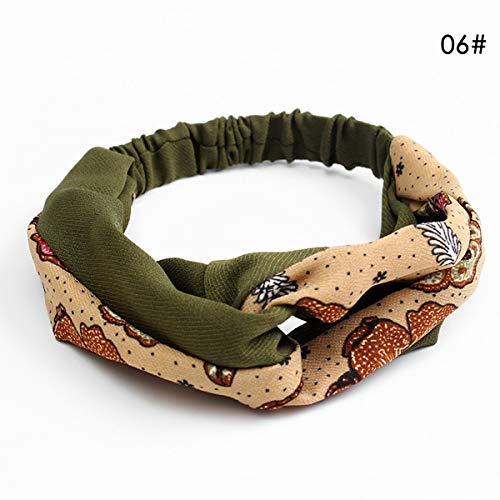 BigBig Style Tragbare Damen Twist Knoten Muster geknotet Stirnband elastische Kopf Wickeln Turban Haarband Blume (Color : Army Green+Ocean)