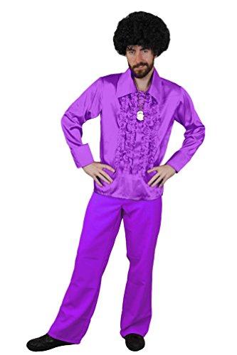ILOVEFANCYDRESS Disco KOSTÜM FÜR DIE PERFEKTE Fasching ODER Karneval VERKLEIDUNG DER 70iger Jahre MUß FÜR Jede Party= LILA-Hemd IN SMALL +LILA Hose IN XXLarge (Patrick Swayze Dirty Dancing Kostüm)