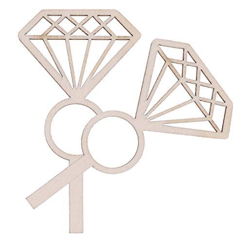 sharplace natur 24Stück Holz Diamant Ring Form Cupcake Picks Engagement Party Bridal Dusche Decor