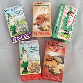 5er Set Knox Räucherkerzen (C): Veilchen, Gebrannte Mandel, Echt India, Weihrauch-Sandel, Marzipan