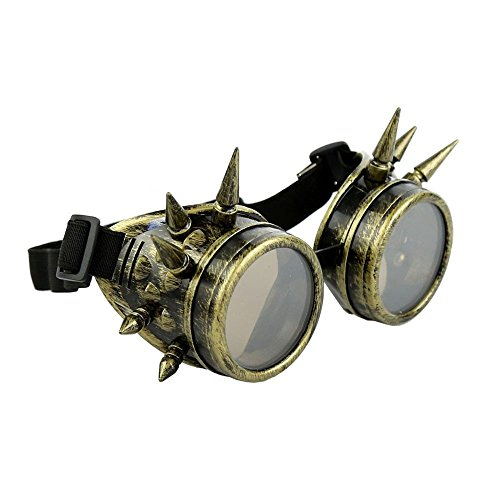 shoperama Goggles mit Spikes Bronze Gold Steampunk Brille Schweißerbrille Burning Man Zubehör (Mad Men Kostüm Halloween)