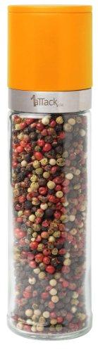 Pfeffermühle Salzmühle Gewürzmühle unbefüllt mit Keramik Mahlwerk in Geschenk Verpackung - 230ml - Höhe 20.5cm - orange