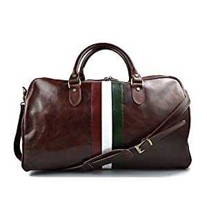 Leder reisetasche Italienische Flagge manner frauen Leder Handgepäck Schulter reisetasche leder braun weekend reisetasche sporttasche