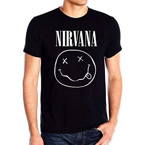KIRALOVE T-Shirt Donna Maglia Nirvana Smile Adulti Donna Unisex- Colore Nero Musica Kurt Cobain Idea Regalo - Taglia S