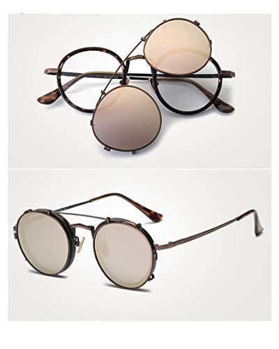 LKVNHP Hochwertige Männer Polarisierte Sonnenbrille Retro Doppelschicht Objektiv Uv400 Sonnenbrille Männlichen Brillen Metallrahmen 5 FarbenBraunenRahmen