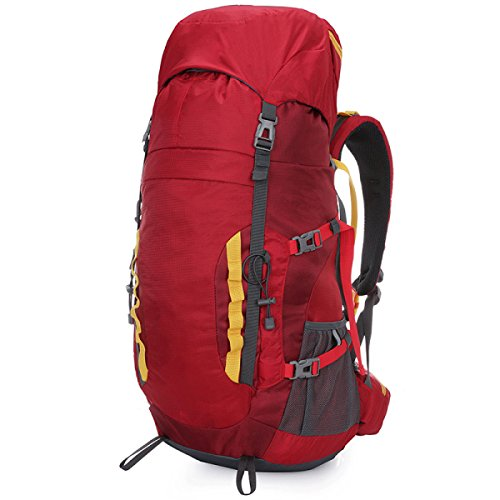 Outdoor-Bergsteigtasche Wandernder Nylon Multifunktions-Wasserdichter Rucksack,Red Red