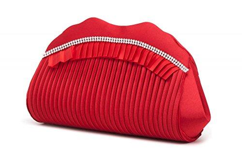 VINCENT PEREZ, Abendtaschen, Clutch, Umhängetaschen, Unterarmtaschen, Satin, Raffung, Strasssteine, 31,5x9,5x8,5cm (B x H x T) Rot