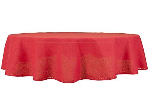 Nappe ronde / ovale rouge de lin-coton, 150cm x 200cm ovale