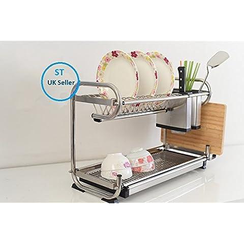 Stella Acero Inoxidable Heavy Duty Dish Rack Escurridor de platos plato cubiertos copa rack goteo, acero inoxidable, 60,96 cm