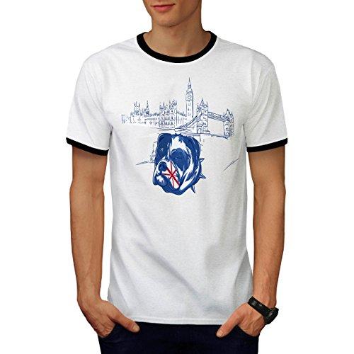 Pitbull England Vereinigtes Königreich Hund London Stadt Herren XL Ringer T-shirt | Wellcoda (Vereinigtes Königreich-ente)