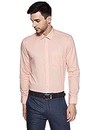 John Miller Men's Checkered Slim Fit Synthetic Formal Shirt