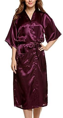 Avidlove Women's Robes Long Classic Satin Lounge Wedding Kimono Nightwear