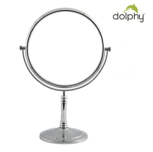 Dolphy Silver 5x Magnification Tabletop Shaving & Makeup Vanity Mirror - 8 Inch
