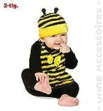 Baby-Set Bienchen Kostüm Biene Mütze mit Lätzchen Kinderfasching (Babys)